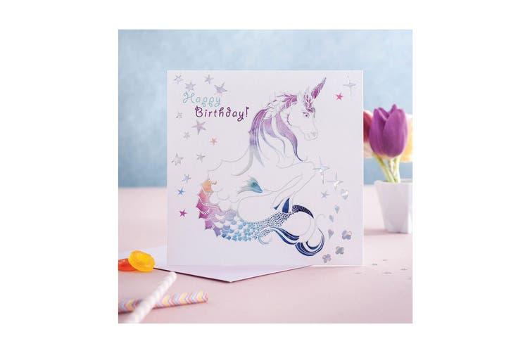 Deckled Edge Prancing Myth Greetings Card (Happy Birthday - Merhorse (White/Rainbow)) (One Size)