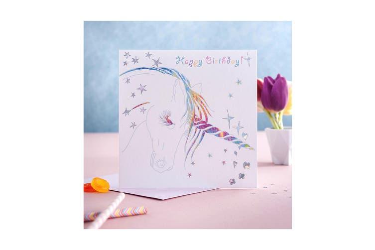 Deckled Edge Prancing Myth Greetings Card (Happy Birthday - Unicorn Head (White/Rainbow)) (One Size)