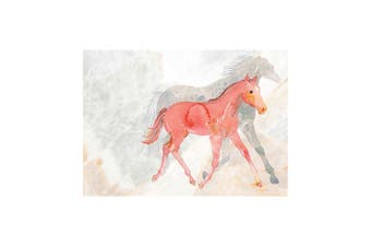 Deckled Edge A4 Watercolour Art Print (Mare and Foal) (21 x 29.7cm)