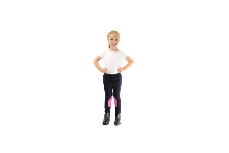 HyPERFORMANCE Childrens/Kids Fleece Jodhpurs (Navy/Pretty Pink) (Large)