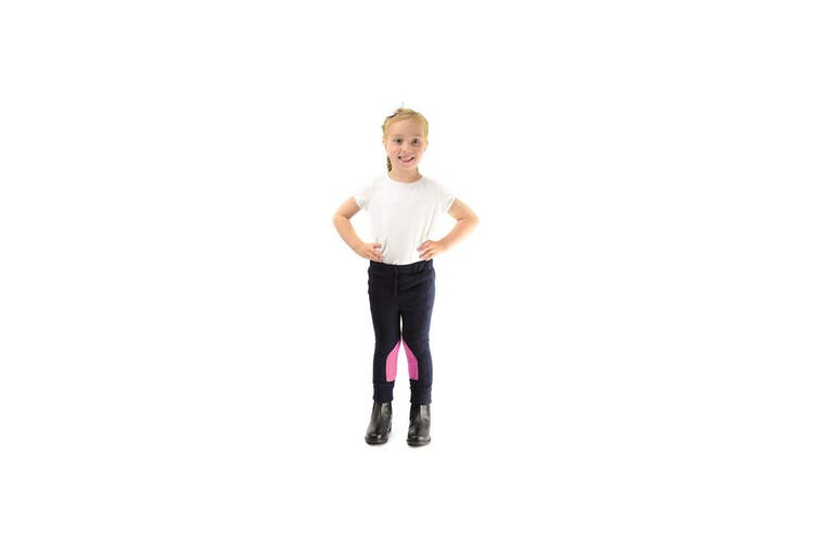 HyPERFORMANCE Childrens/Kids Fleece Jodhpurs (Navy/Pretty Pink) (X Large)