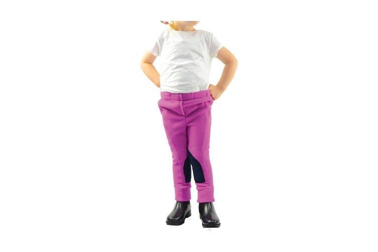 HyPERFORMANCE Childrens/Kids Fleece Jodhpurs (Pretty Pink/Navy) (Small)