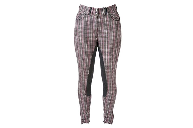 HyPERFORMANCE Frayer Ladies Breeches (Grey/Pink Check) (30in)
