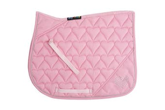 HySPEED Heart Diamante All Purpose Saddle Cloth (Pink/Silver Binding) (Cob/Full)