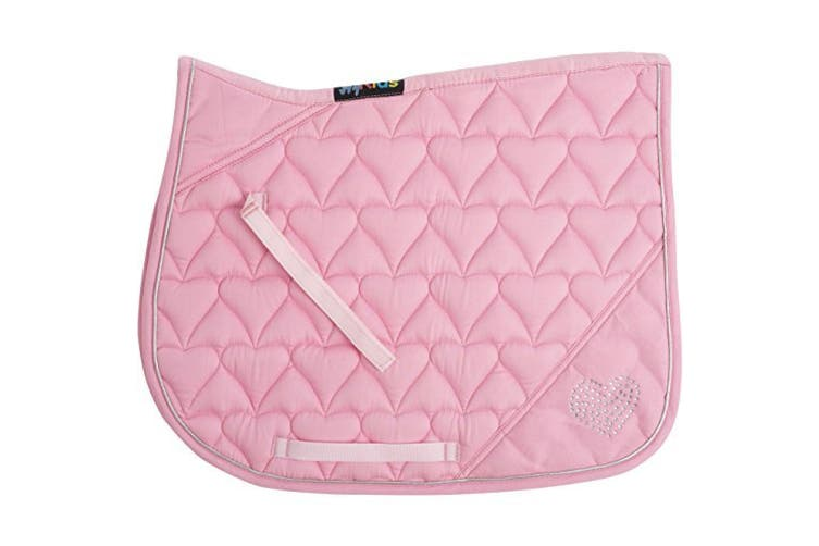 HySPEED Heart Diamante All Purpose Saddle Cloth (Pink/Silver Binding) (Pony/Cob)