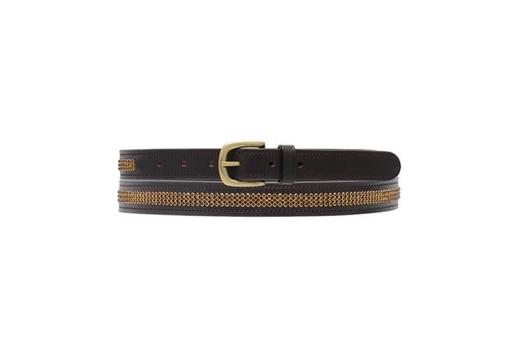 Hy Womens/Ladies Crystal Diamante Leather Belt (Brown/Diamante) (70cm)