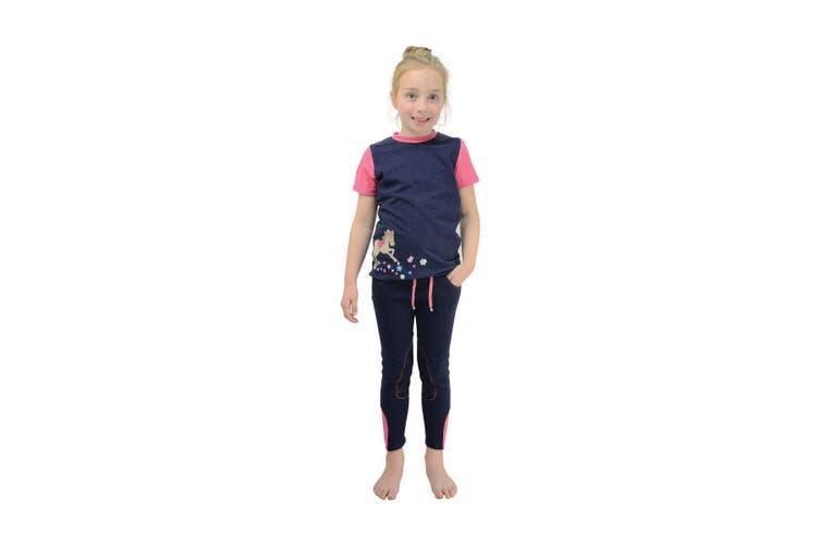 Little Rider Childrens/Kids Felicity Flower T-Shirt (Fuchsia Pink/Navy) (9-10 Years)
