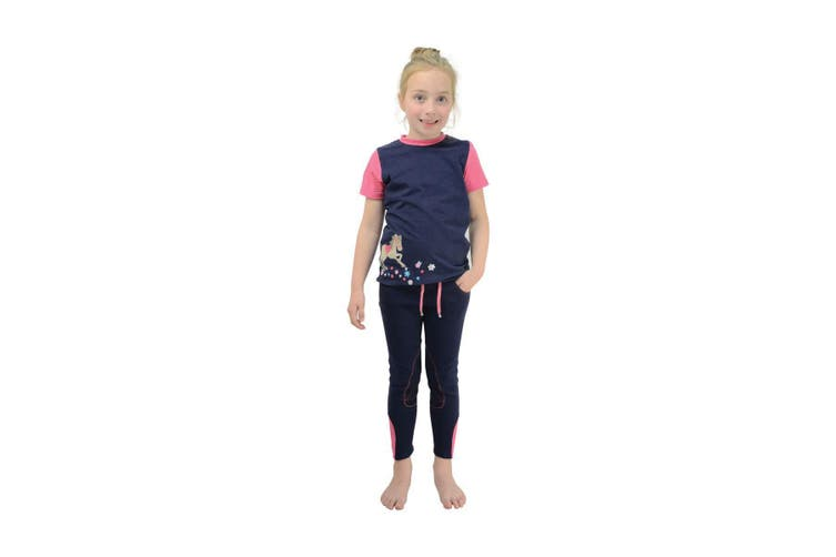 Little Rider Childrens/Kids Felicity Flower T-Shirt (Fuchsia Pink/Navy) (7-8 years)