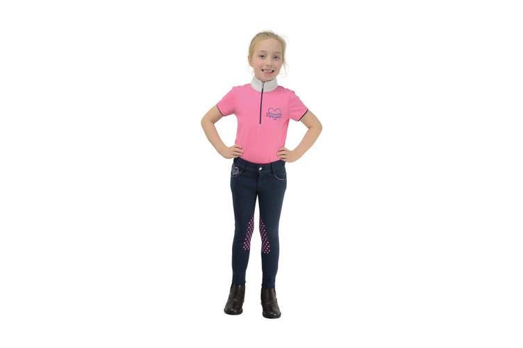 Little Rider Childrens/Girls Lola Love Heart Jodhpurs (Navy/Colourful Hearts) (7-8 Years)