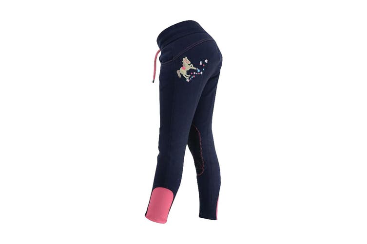 Little Rider Childrens/Kids Felicity Flower Pull On Jodhpurs (Fuchsia Pink/Navy) (3-4 years)