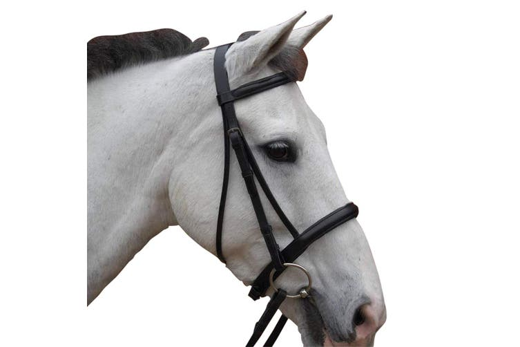 Hy Padded Cavesson Bridle with Rubber Grip Reins (Black) (Pony)