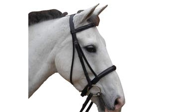 Hy Padded Cavesson Bridle with Rubber Grip Reins (Black) (Cob)
