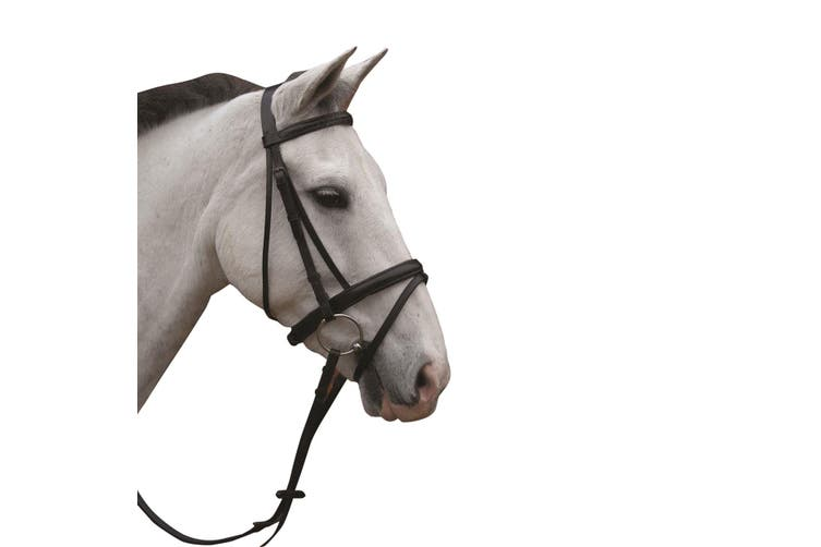 Hy Padded Flash Bridle with Rubber Grip Reins (Black) (Full)