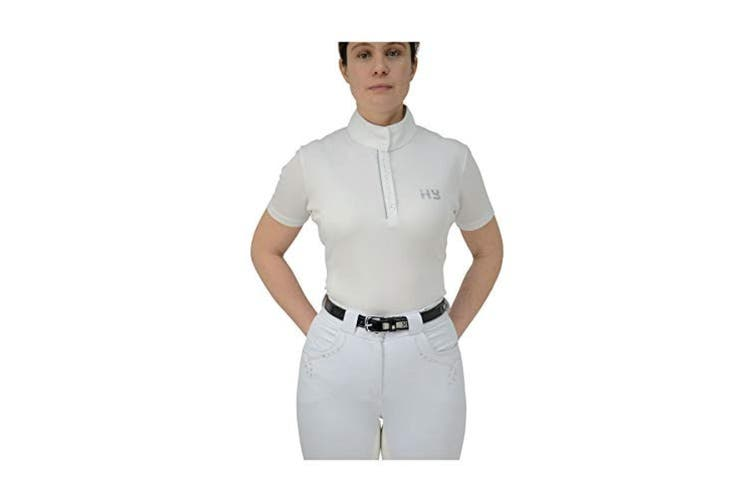 HyFASHION Womens/Ladies Diamante Show Shirt (Arctic White) (L)