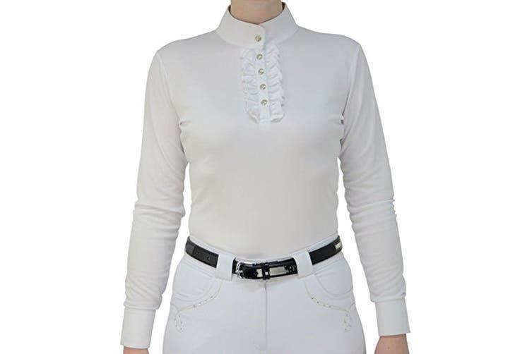 HyFASHION Womens/Ladies Katherine Ruffle Long Sleeved Show Shirt (White) (S)