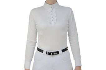 HyFASHION Womens/Ladies Katherine Ruffle Long Sleeved Show Shirt (White) (M)