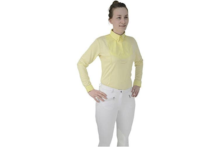 HyFASHION Womens/Ladies Dedham Long Sleeved Tie Shirt (Yellow) (XL)