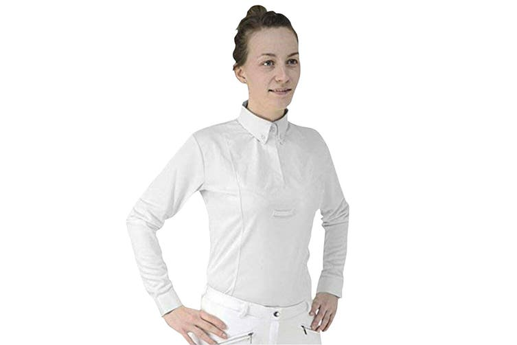HyFASHION Womens/Ladies Dedham Long Sleeved Tie Shirt (White) (S)