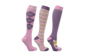 HyFASHION Childrens/Kids Little Unicorn Socks (Pack of 3) (Powder Pink/Dusty Lilac/Sap Green) (8-12 Child UK)