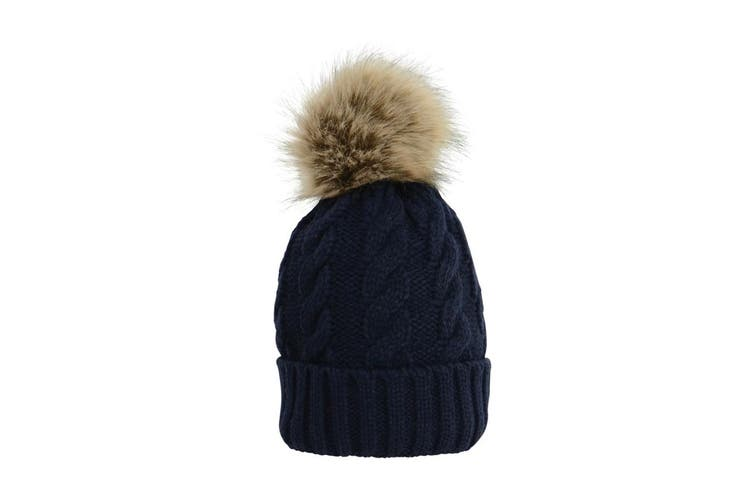 HyFASHION Adults Melrose Cable Knit Bobble Hat (Navy) (One Size)