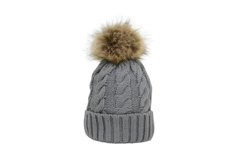 HyFASHION Adults Melrose Cable Knit Bobble Hat (Grey) (One Size)