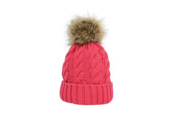 HyFASHION Adults Melrose Cable Knit Bobble Hat (Raspberry) (One Size)
