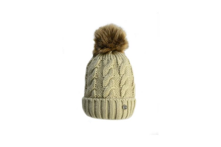 HyFASHION Adults Melrose Cable Knit Bobble Hat (Oatmeal) (One Size)