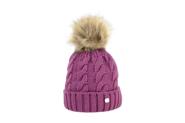 HyFASHION Adults Melrose Cable Knit Bobble Hat (Purple) (One Size)