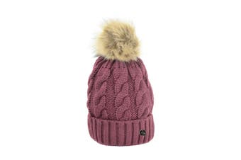 HyFASHION Adults Melrose Cable Knit Bobble Hat (Burgundy) (One Size)