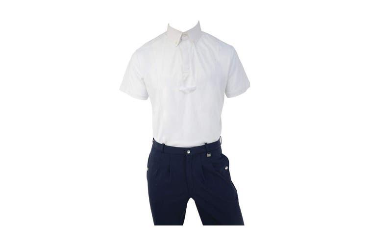 HyFASHION Mens Hadleigh Short Sleeved Tie Shirt (White) (XS)