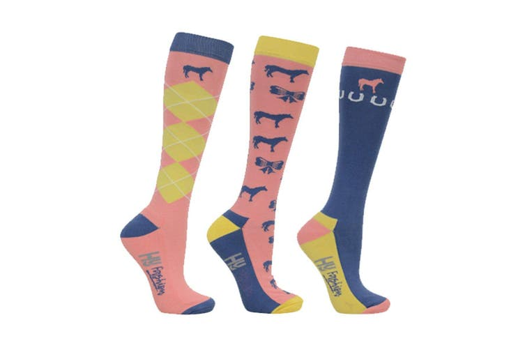 HyFASHION Adults Newmarket Horse Print Socks (Pack of 3 Pairs) (Yellow/Coral/Blue) (4-8 UK)