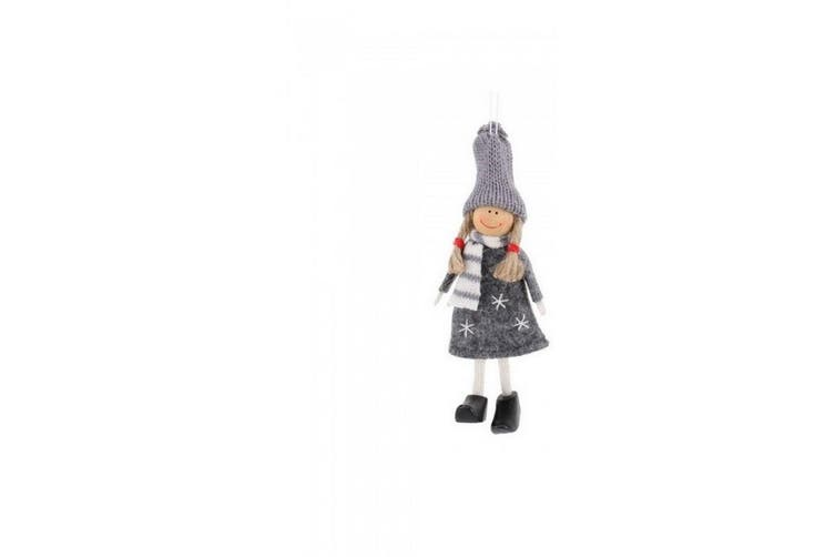 CGB Giftware Christmas Happy Girl Hanging Decoration (Grey) (One Size)