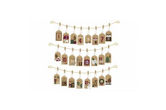 CGB Giftware Christmas Advent DIY Envelope Hanging Bunting Set (Brown) (One Size)