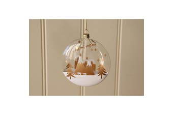 CGB Giftware Christmas Village Scene Glass Ball Bauble (Clear) (Height: 11cm Width: 10cm Depth: 2cm)