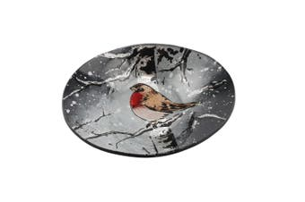CGB Giftware Small Oval Winter Robin Glass Bowl (Grey) (One Size)