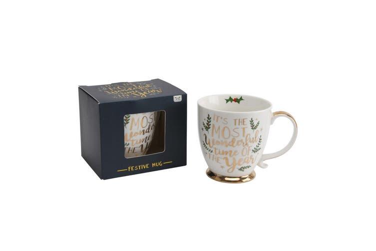 CGB Giftware Christmas Wonderful Time of Year Mug (White) (H: 10.5cm W: 13.5cm Dia: 10cm)