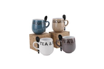 CGB Giftware 1 Assorted Tea And Biscuits Inscribed Mug With Spoon - ASRTD (Multicoloured) (H: 10cm W: 13cm D:8.5cm)