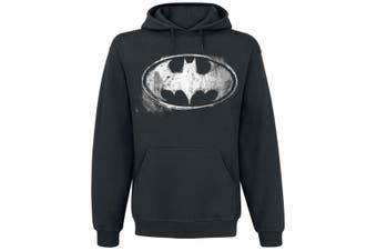 Batman Unisex Adults Distressed Monochrome Logo Pullover Hoodie (Black)