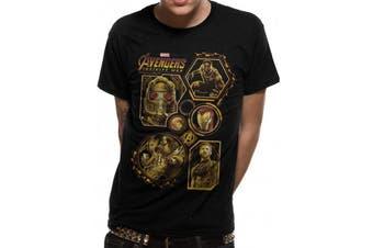 Avengers: Infinity War Adults Unisex Block Characters T-Shirt (Black) - UTCI1358