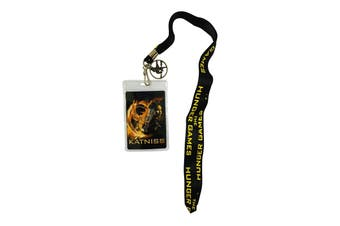 Hunger Games Girl On Fire Katniss Lanyard With Pin Badge (Black/Yellow/Orange) (One size)