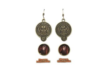 Hunger Games Girl On Fire Unisex Adults Peeta Mellark Earrings (3 Pairs) (Black/Gold/Red) (One size)