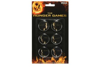 Hunger Games Girl On Fire Characters Badge Set (Pack of 6) (Black) (One size)