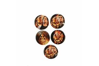 Hunger Games Catching Fire Tributes Badge Set (Pack of 5) (Black/Orange) (One size)