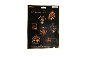 Hunger Games Catching Fire Sticker Set (Pack of 8) (Black/Orange) (One size)