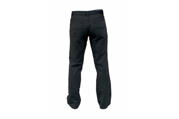 Duke London Mens Kingsize Mario Bedford Cord Trousers With Belt (Black) (58L)