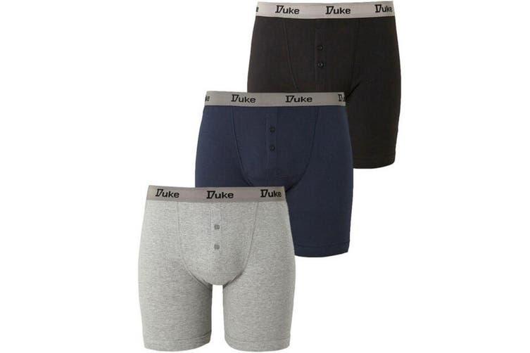 Duke London Mens Driver Kingsize Cotton Boxer Shorts (Pack Of 3) (Black/Grey/Navy) (8XL)