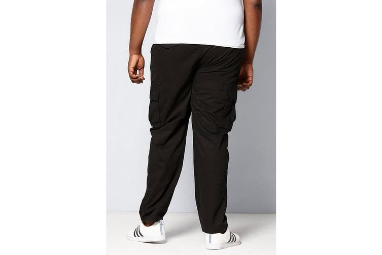 Duke London Mens Tall Fit Cotton Cargo Trousers (Black) (32XL)