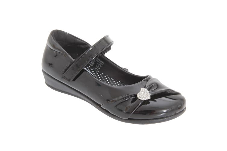 US Brass Girls Paige II Touch Fastening Bar Diamante Trim Shoes (Black Patent) (8 UK Junior)
