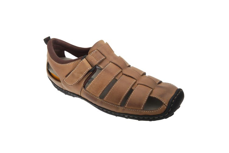 Roamers Mens Touch Fastening Closed Toe Sandals (Brown) (8 UK)
