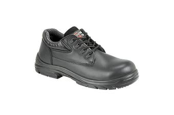 Grafter Mens Wide Fitting Lace Up Safety Shoes (Black) (43 EU)